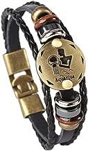 Hamoery Punk Alloy Leather Bracelet for Constellation Braided Rope Bracelet Bangle
