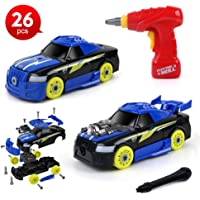 Beebeerun 2-in-1 Take Apart Racing Car Toys with Electric Drill Tool