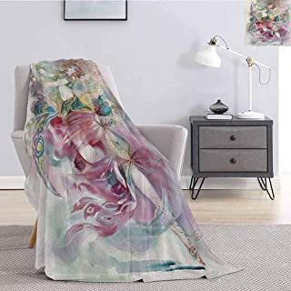 Luoiaax Watercolor Plush Blanket for Bed Couch Oriental Dance Theme Young Girl Performing in Traditional Costume Fantasy Figure Super Soft Cozy Queen Blanket W70 x L84 Inch Multicolor