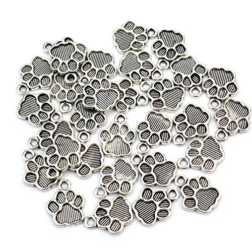 Pinzhi 30st Haustier Hund Fußabdruck Druck Metall Charm für Armband Halsbandanhänger