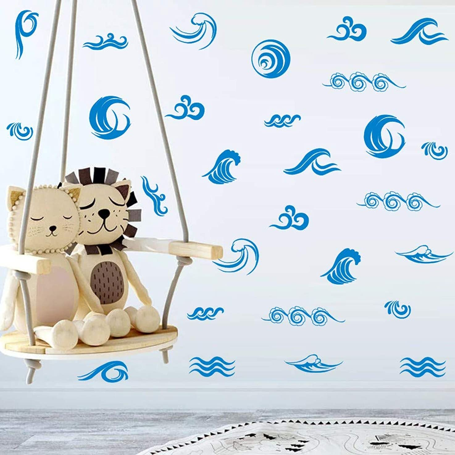 Ocean Wave Wall Decal, Blue Leaping Waves Sticker for Nursery Sea World Theme Decoration,Cute Window Cling Decor (34pcs)