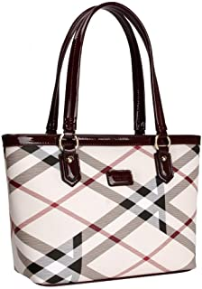 Lady Women Designer Stylish Grid Top-Handle Handbag Leather Check Shopping Tote Shoulder Bag