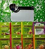 Twinings - Juego de 50 bolsitas de té verde con exprimidor de bolsitas de té de acero inoxidable en una bolsa de regalo verde
