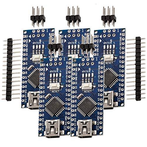 AZDelivery 5 x Nano V3.0 con Atmega328 CH340, 100{f658ce80aa60b0c683e8b43216eed11a584fa55f3296fa22fbb8be661eb4f755} compatibile con Arduino con eBook