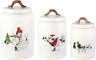 American Atelier Winter Holiday Canister Set 3-Piece Ceramic Jars Chic Design with Lids for Cookies, Candy, Coffee, Flour, Sugar, Rice, Pasta, Cereal & More, White