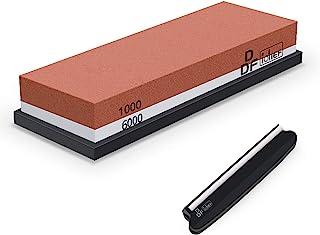 DDF IohEF [Ny stil] Slipsten, kornstorlek 1000/6000 slipsten professionell 2-i-1 dubbelsidig knivslip med halkfri silikonh...