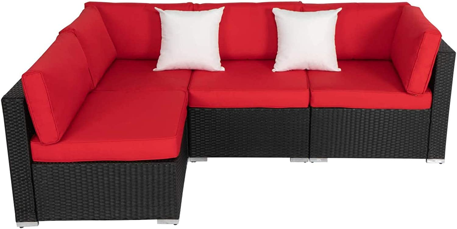 4 Pieces New mail order Outdoor Patio Furniture Chair Set Loveseat Wicker Free shipping Sofa