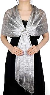 KAVINGKALY Metallic Sparkly Schals und Wraps für den Hochzeitsabend Party Prom Schal mit Fransen