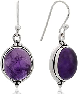 Women's 925 Oxidized Sterling Silver Oval Gemstone Vintage Dangle Hook Earrings, 1.25