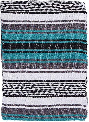 El Paso Designs - Mexican Yoga Blanket - Colorful Falsa Serape - Camping, Picnic, Beach Blanket, Bedding, Car Blanket, Saddle Blanket, Soft Woven Home Decor (Esmeralda)