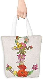 Tote bag Anchor Composition with Different Detailed Spring Flowers Blooming Nature and Marine Life Coin cash wallet 16.5