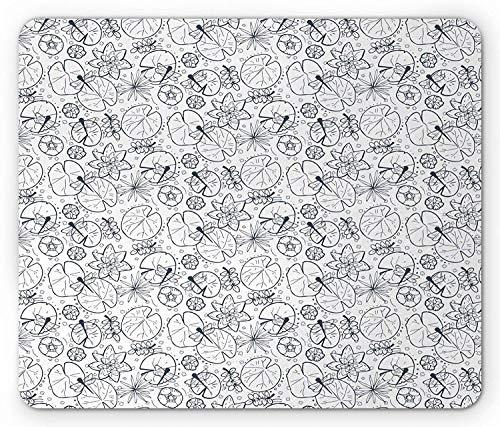 Sumpf Mauspad, Seerose Pflanze Blätter Nymphaea Lotus Kräuterblätter Exotische Libelle Silhouette, Rechteck Rechteck Rutschfestes Gummi-Mauspad, Nacht Blau Weiß