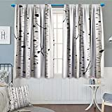 Birch Tree Blackout Window Curtain Forest Seasonal Nature Woodland Leafless Branches Grove Botany Illustration Customized Curtains 52'x63' Black and White