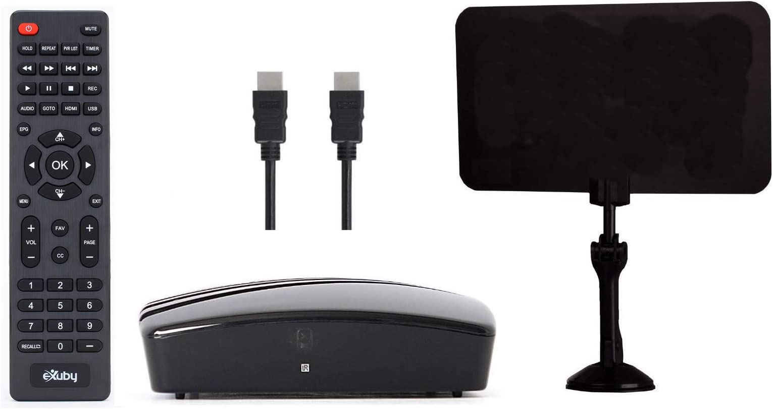 eXuby Digital Converter Box for TV, Antenna, HDMI and RCA Cable - Complete Bundle to View, Record HD Channels Instant or Scheduled Recording, 1080P HDTV, HDMI Output and 7 Day Program Guide