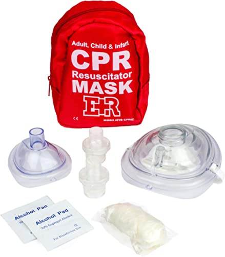 Ever Ready First Aid Adult and Infant CPR Mask Combo Kit with 2 Valves with Pair of Nitrile Gloves & 2 Alcohol Prep P...