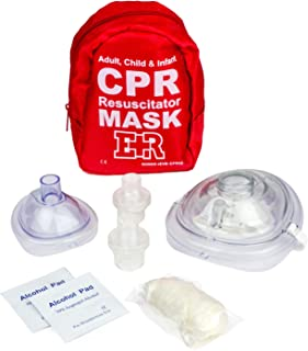 Ever Ready First Aid Adult and Infant CPR Mask Combo Kit with 2 Valves with Pair of Nitrile Gloves & 2 Alcohol Prep Pads -...