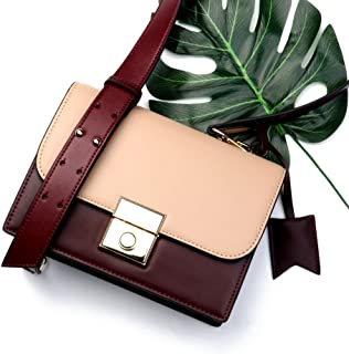 Leather 2018 New Women's Shoulder Wallet Contrast Fashion Handbag Leather Wallet Waterproof (Color : Red, Size : S)