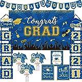 Graduation Party Decoration Kit Class of 2021 Congrats Grad Royal Blue Graduation Party Supplies - Banner Decoration Kit