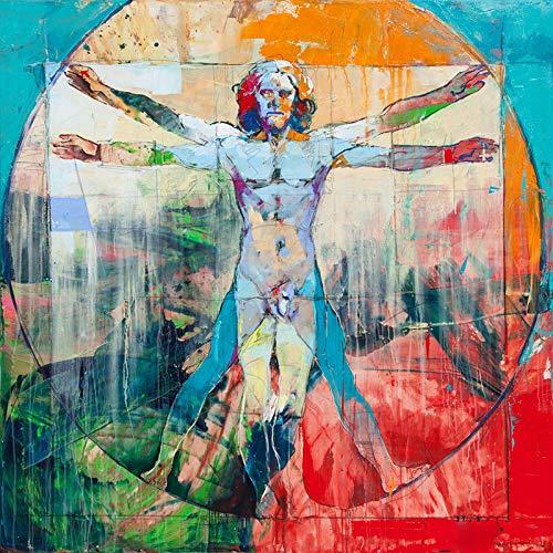 Orlco Art Moderne abstrakte Figur auf Leinwand, Charlie Chaplin, Pop-Art-Wandbilder für Wohnzimmer, Heimdekoration, Gemälde der vitruvianische Mann, Druck auf Cavans, bunt, 40,6 x 40,6 cm