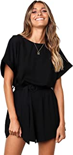 Longwu Women's Summer Bat Wing Sleeve Jumpsuit Casual Loose Overall Rompers with Belt