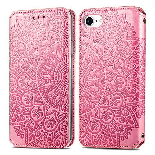 Trugox Funda Cartera para iPhone SE 2020/iPhone 8/iPhone 7 de Piel con Tapa Tarjetero Soporte Plegable Antigolpes Flor Cover Case Carcasa Cuero para Apple iPhone SE 2020/8/7/6/6S -TRSDA140019 Rosa