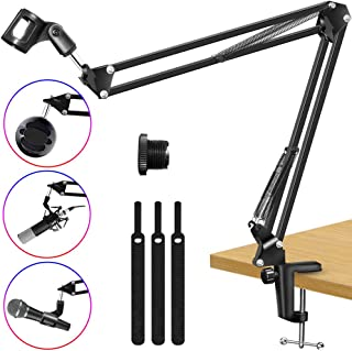 Kasonic Microphone Stand, Adjustable Microphone Suspension Boom Scissor Arm Stand for Broadcasting Recording, Voice-Over Sound Studio, Stages, Streaming, Singing and TV Stations