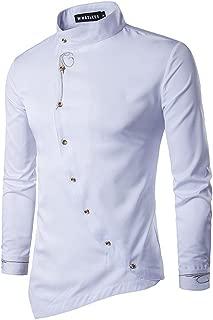 Men's Casual Irregular Hem Slim Fit Button Down Dress Shirt