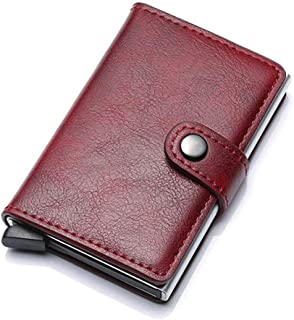 Credit Card Holder RFID Blocking Genuine Leather Vintage Aluminum Business Wallet