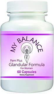 Fem Plus Glandular Supplement for Women. Raw Bovine Ovary, Mammary and Uterus. 60 Capsules for Hormonal Support, PMS Relief, Menopause Relief. 100% Natural.