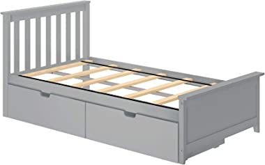 Max & Lily Twin Bed Storage Drawers, Grey