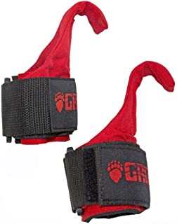 Grizzly Fitness Premium Weight Lifting Hooks with Neoprene Wrist Wraps for Men and Women   Sold in Pairs   One-Size   Used by Pros to increase Grip Strength  Steel Hooks with Neoprene Wrist Wraps   Velco closure
