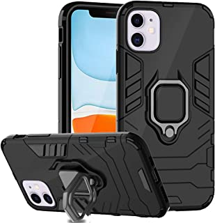 Ferilinso Case for iPhone 11 Cases, Stylish Dual Layer Hard PC Back Case with Ring Grip Kickstand & Support Magnetic Car Mount Function Cover for iPhone 11 Case-Black