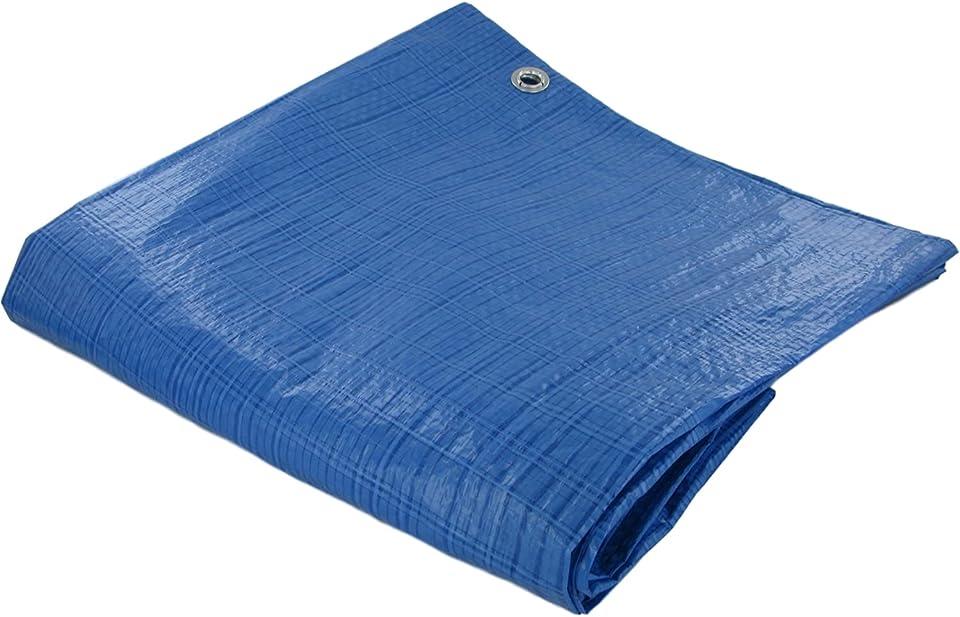 Premium Multipurpose (3.5 x 4.5m / 11.5x14.8ft) Waterproof Blue Tarpaulin Heavy Duty Tarp PVC Sheet Outdoor Furniture Camping Garden Cover With Strong Eyelets (1.2 x 1.8m (3.9x5.9ft), Blue)