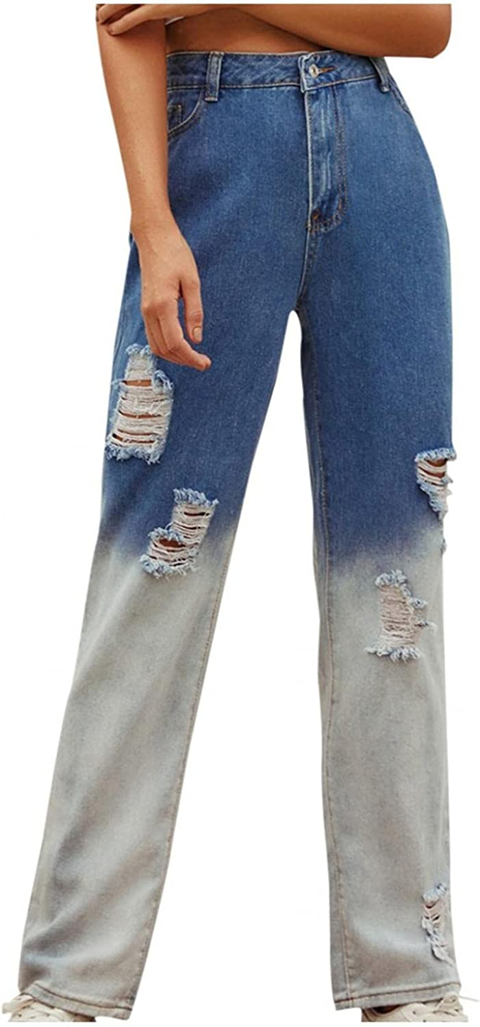 fannyouth Y2k Fashion Jeans for Women High Waist Elastic Ripped Denim Jeans Trousers Wide Leg Pant with Holes Streetwear
