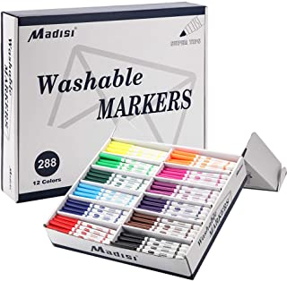 Madisi Washable Markers, Super Tips Markers, Assorted Colors, Classroom Bulk Pack, 288 Count