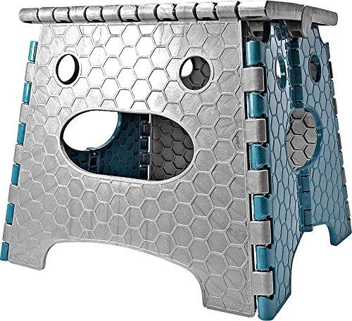 STARK Hocker / Klapphocker / Tritthocker mit Griff, zusammenklappbar, bis 100 kg, Höhe 26,8 cm in grau- blau Klappstuhl tragbar für Küche, Bad, Garten
