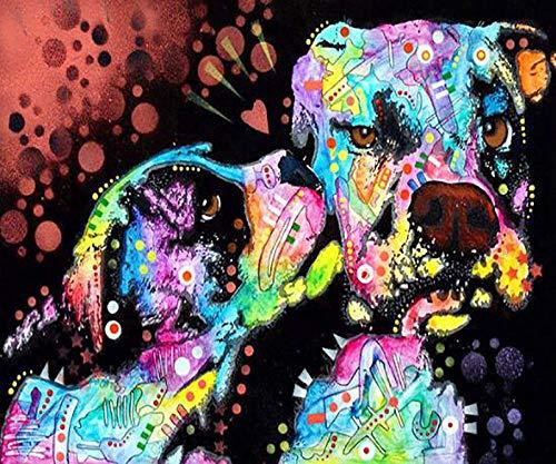 upnanren 5D Diamant Malerei DIY quadratischen Diamant Kunst-Strass Kristall Bild Stickerei Kit Kunsthandwerk Kreuzstich Farbe Hund 35x30cm