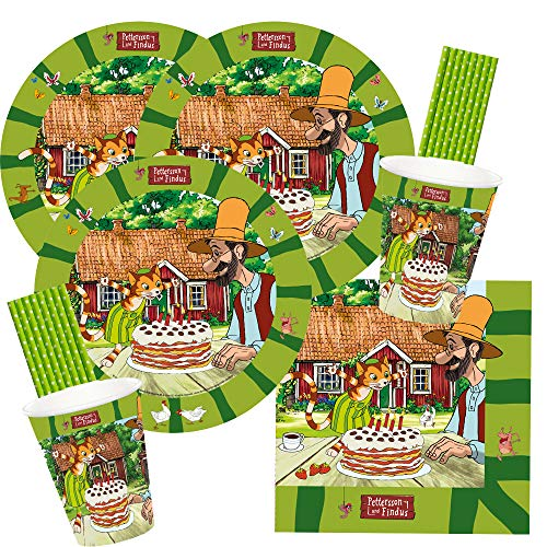 spielum 68-teiliges Party-Set Pettersson und Findus - Teller Becher Servietten Trinkhalme für 16 Kinder