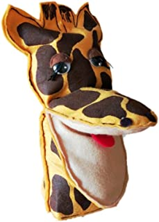 Story Telling Puppet Gloves – Animal Hand Puppets with Movable Mouth – Soft Mouth Puppet (Yellow Giraffe)