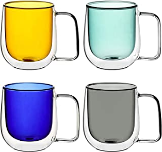 Glass Coffee Mugs 10oz Set of 4 - Gift Wraped Double Walled Insulated Drinking Glassware Coffe Cups with Handle for Cold a...