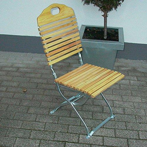 Gartenmoebel Gartenstuhl BAD TÖLZ verzinkt 2er Set, Robinien Holz, klappbar
