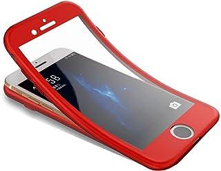 Surakey Funda para iPhone 7 /iPhone 8 Funda de 360 Grados con Vidrio A Prueba de Balas Funda de Silicona Suave Completo Caja Protectora de Frente Y Espalda para iPhone 7 /iPhone 8Rojo Ele001183R