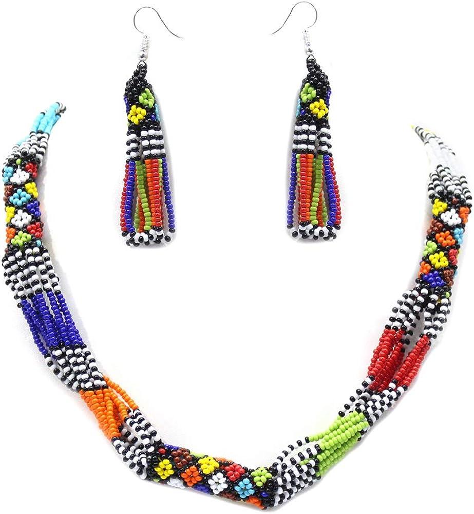 HANDMADE MULTI COLOR ROPE NECKLACE EARRINGS AFRICAN MAASAI BEADWORK BEADED JEWELRY S31/5