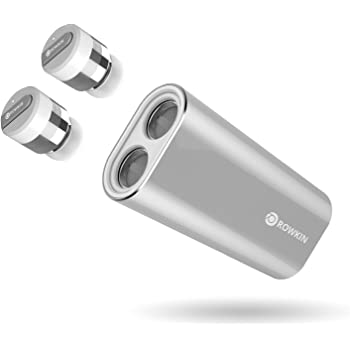 Rowkin Bit Charge Stereo: True Wireless Earbuds w/Charging Case. Bluetooth Headphones Smallest Cordless Hands-free Mini Earphones Headset w/Mic & Noise Reduction for Android & iPhone (Silver)