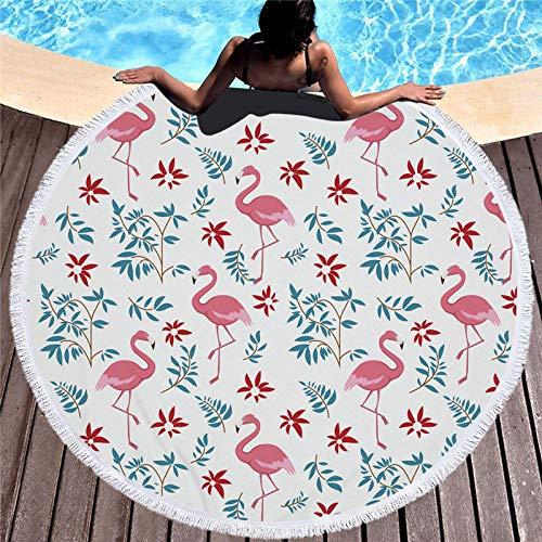BCDJYFL Impresas Toalla De Playa Flamingo con Hojas Toallas De Playa Microfibra Toallas De Yoga para Exteriores Suaves Y Absorbentes.-Diámetro: 150Cm