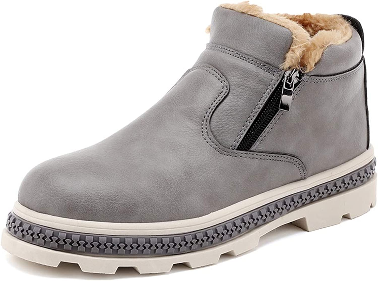 SRY-Fashion shoes Men's Stylish Snow Boots Casual Warm Boots Commodious Zipper Winter Faux Fleece Inside Home shoes