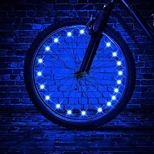 HUGEE Luce per Ruota Bici - Decorazione di Raggi per Ruote di Biciclette,Illuminazione Luci per Catene di Ruote Impermeabili,Visibili da Ogni Angolazione,Applicare Durante la Guida di Notte (Blu)