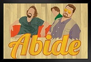 The Dude Abides Minimalist Movie Black Wood Framed Art Poster 14x20