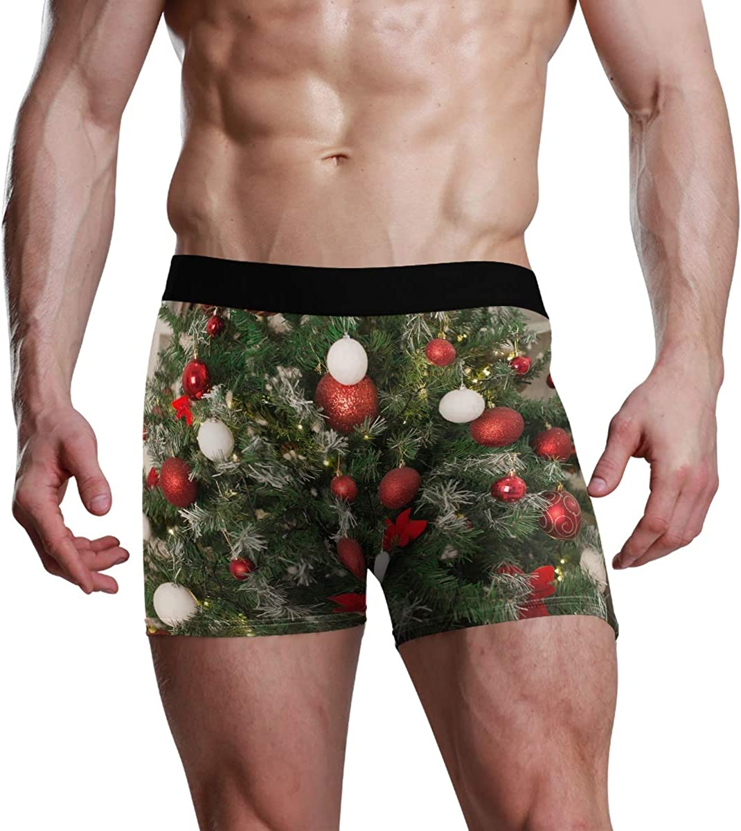 HangWang Men's Underwear New Year and Christmas Breathable Boxer Briefs Low Rise Long Leg