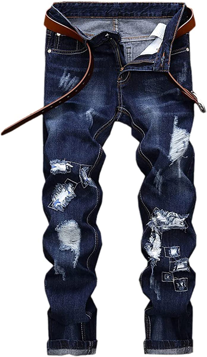 CACLSL Men's Worn Straight Washed Jeans Blue Casual Jeans